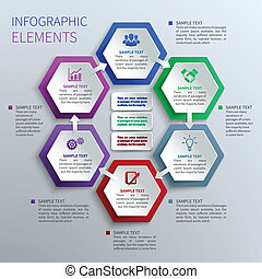 Abstract paper hexagons geometric shape business infographics design template vector illustration