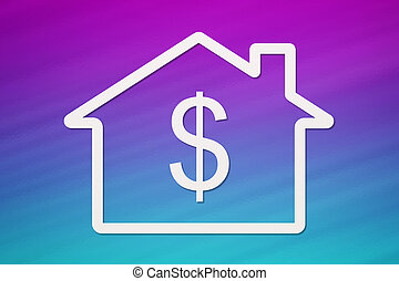 Paper house with dollar sign inside. Abstract conceptual image