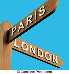 Paris Or London Directions On A Signpost