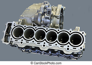 Part of car engine with the transmission in a rugged aluminum enclosure