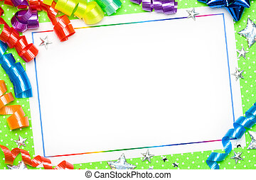 Blank card with brightly colored streamers
