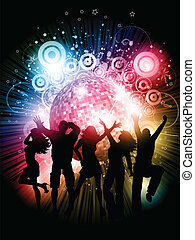 Silhouettes of people dancing on an abstract grunge background with mirror ball