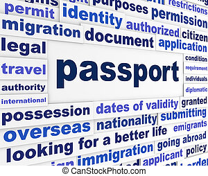 Passport legal words concept