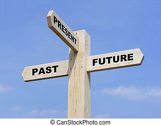 Isolated wooden signpost with the text past, present and future