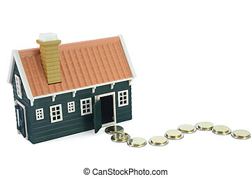 House at the end of a money path - isolated (clipping path)