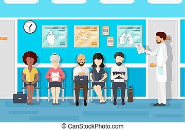 Patients in doctors waiting room. Vector illustration