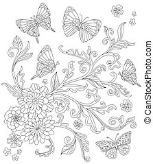 pattern with flowering plant and flying butterflies around. outl