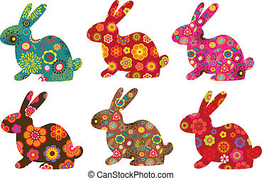 Easter patterned bunnies , vector illustration