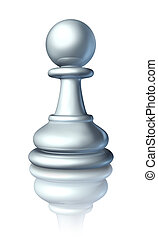 Chess pawn as a business symbol and icon of an expendable worker or low level servant that gets no respect from higher ups as represented by the small board game white piece.