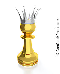 3D render of golden pawn with silver crown isolated on white background.