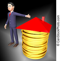 Pay Off Mortgage Coins Showing Housing Loan Payback Complete - 3d Illustration