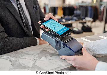 Paying with smartphone in store