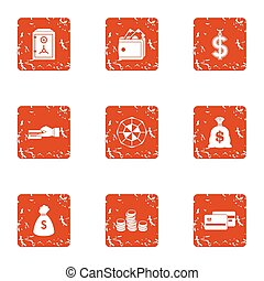 Payment transaction icons set, grunge style