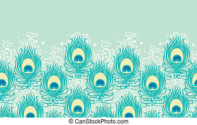 Peacock feathers vector horizontal seamless pattern background ornament with hand drawn elements.