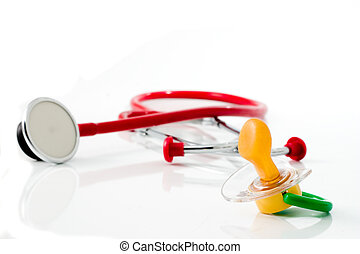 red stethoscope with green pacifier isolated
