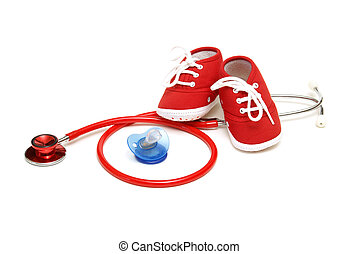 An isolated shot of objects relating to the profession of pediatrics healthcare.