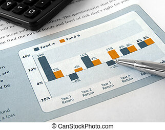 Pen on the Investment Chart with Calculator