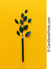 Pencil with green leafs. Creativity success concept.