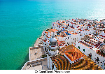 Peniscola beach and Village aerial view in Castellon Valencian community of spain