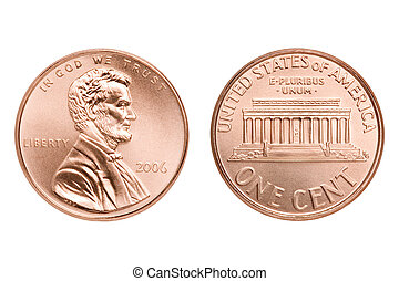 penny macro both sides, one American cent coin isolated on white