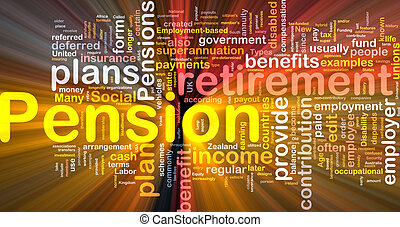Background concept wordcloud illustration of pension glowing light