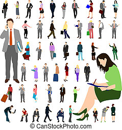Set of business men and women illustrations