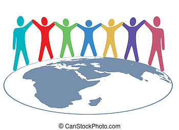 Diverse group of symbol people hold hands around map of planet earth.