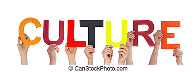 Many People Holding the Word Culture, Isolated