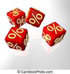 Red cubes with golden per cent symbols.