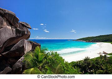 Grand Anse beach on La Digue island in Seychelles