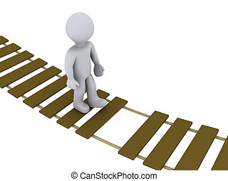 3d person walking on a damaged suspension bridge