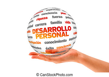 Hand holding a Personal Development 3D Sphere on white background.