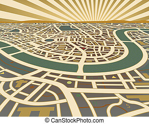 Editable vector illustration of a street map landscape