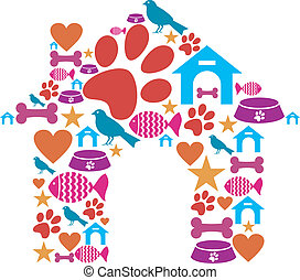 Dog house shape made with animal care icons set.