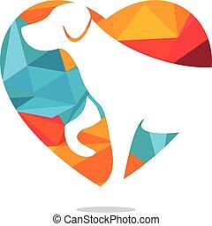 Pet love logo design.
