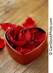 petals of red roses in a box