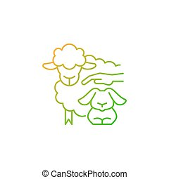 Petting zoo gradient linear vector icon. Interactive zoo for kids. Persons able to touch and feed animals. Thin line color symbols. Modern style pictogram. Vector isolated outline drawing