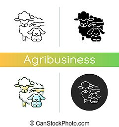 Petting zoo icon. Interactive zoo for kids. Persons able to touch and feed animals. Domesticated and docile animals. Linear black and RGB color styles. Isolated vector illustrations