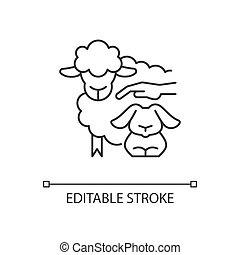 Petting zoo linear icon. Interactive zoo for kids. Persons able to touch and feed animals. Thin line customizable illustration. Contour symbol. Vector isolated outline drawing. Editable stroke