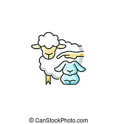 Petting zoo RGB color icon. Interactive zoo for kids. Persons able to touch and feed animals. Domesticated and docile animals. Isolated vector illustration. Simple filled line drawing