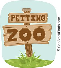 Illustration Featuring a Wooden Board With the Phrase Petting Zoo Written on It