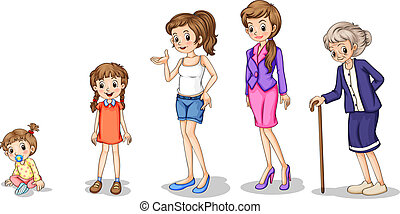 Illustration of the phases of a growing female on a white background