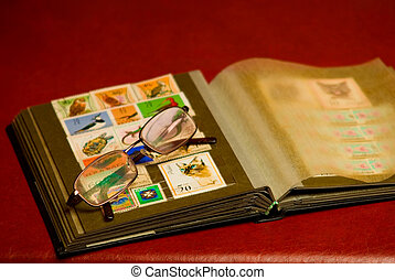 Albums for the collection of old postal stamps