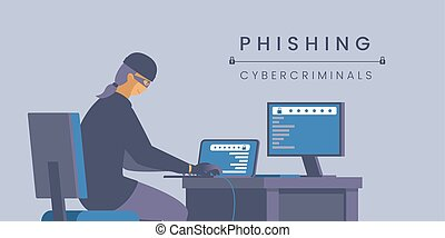 Phishing cybercriminals flat banner vector template. Personal information stealing, virtual identity theft, cybercrime poster layout. Hacker in mask working with computer illustration with typography