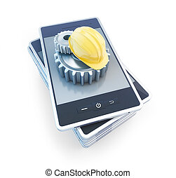 phone gear construction helmet on a white background