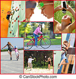 photo collage of active people children and adults doing sports activities