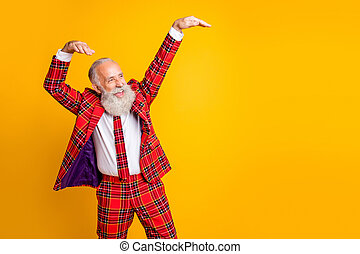 Photo of cool look grandpa with white beard at youngster party dancing modern strange moves wear checkered red blazer tie clothes isolated yellow color background