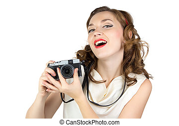 Photo of the woman with retro camera