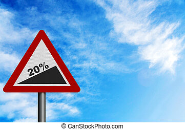 Photo realistic '20% slope' sign, to represent Jan 2011 UK VAT increase. With space for your text overlay