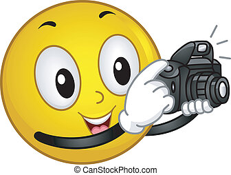 Illustration of a Smiley Taking a Photo